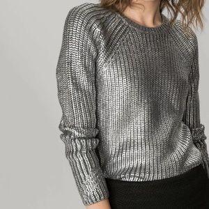 MAJE Gigogne Metal Coated Knit Sweater Metallic